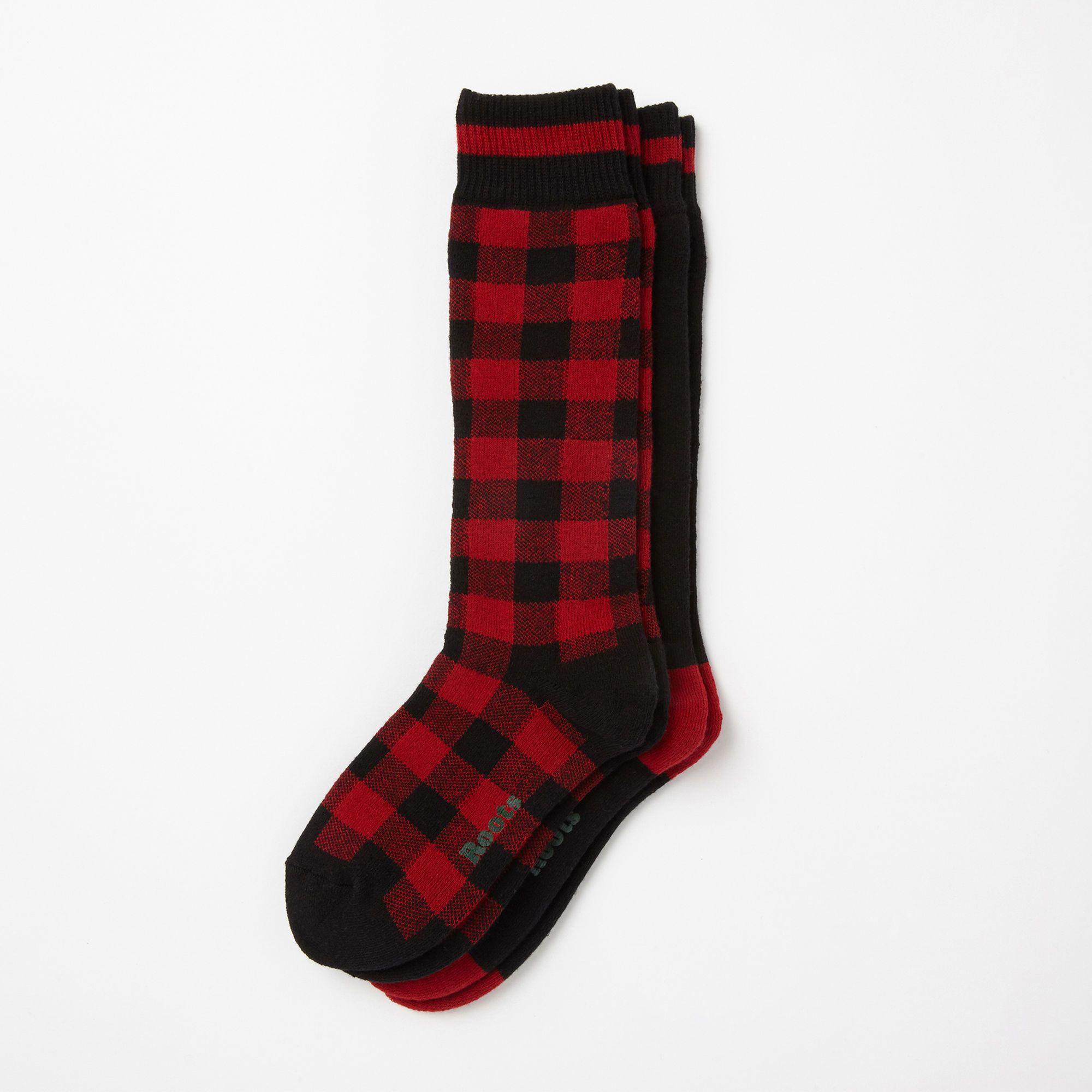 Womens Buffalo Check Socks 2 P Roots Canada Clothes Camping Outfits Buffalo Plaid