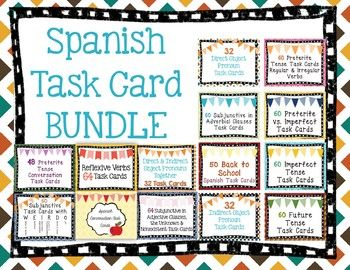 This set includes 782 Task Cards on 14 different Spanish ...
