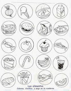 Alimentos Saludables Y Alimentos Chatarra Para Colorear Healthy And Unhealthy Food Dental Health Preschool Teaching Kids