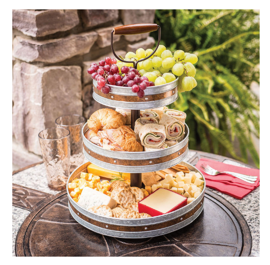 Tiered Serving Stand 3 Tier Tray Party Trays And Platters W Handles Galvanized Tiered Serving Stand Serving Stand Food Serving Trays