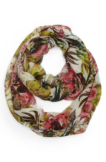 David & Young Tropical Print Infinity Scarf (Juniors) (Online Only) Womens Beige One Size One Size
