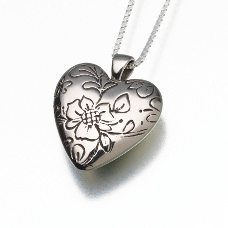 Bronze heart cremation pendant with floral detail
