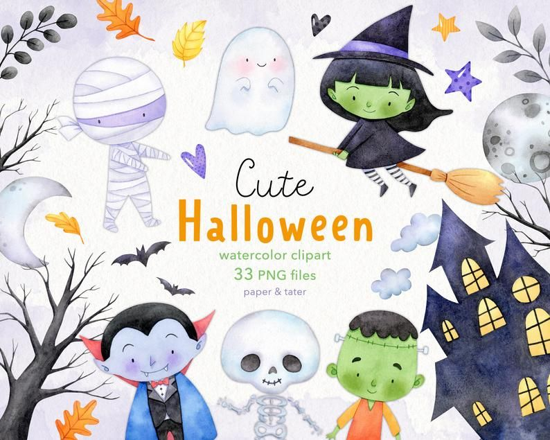 Watercolor Halloween Clipart Cute Monsters Witch Vampire Etsy Desenhos