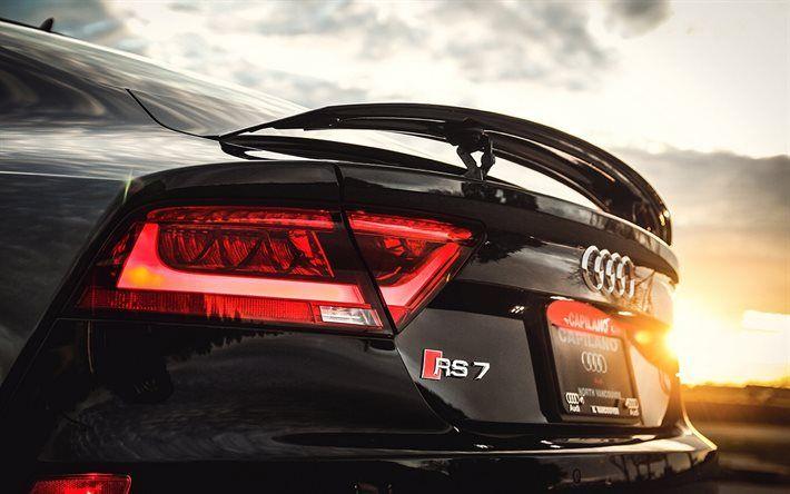 Download Wallpapers Sunset Audi Rs7 Sportback Black Rs7 Close Up Audi Besthqwallpapers Com Audi Rs7 Sportback Audi Rs7 Rs7 Sportback