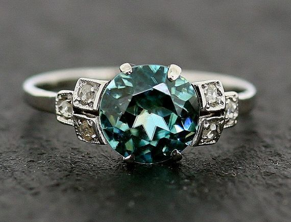 Art Deco Ring Blue Zircon Amp Diamond Antique 18ct White