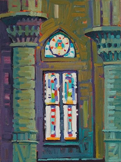 """""""Interior of Sacred Heart,"""" by Rene Wiley by René Wiley Gallery Oil ~ 16 x 12"""