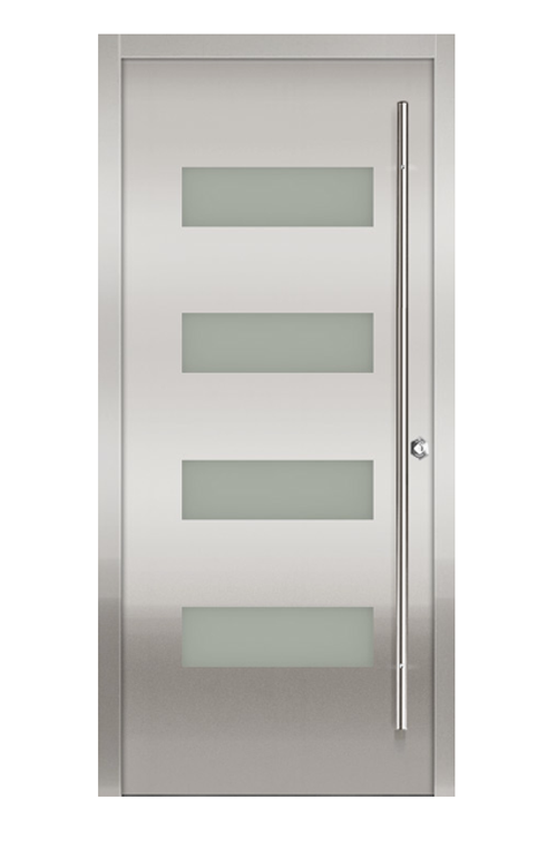Contemporary stainless steel entry doors stainless steel for Modelos de puertas metalicas principales