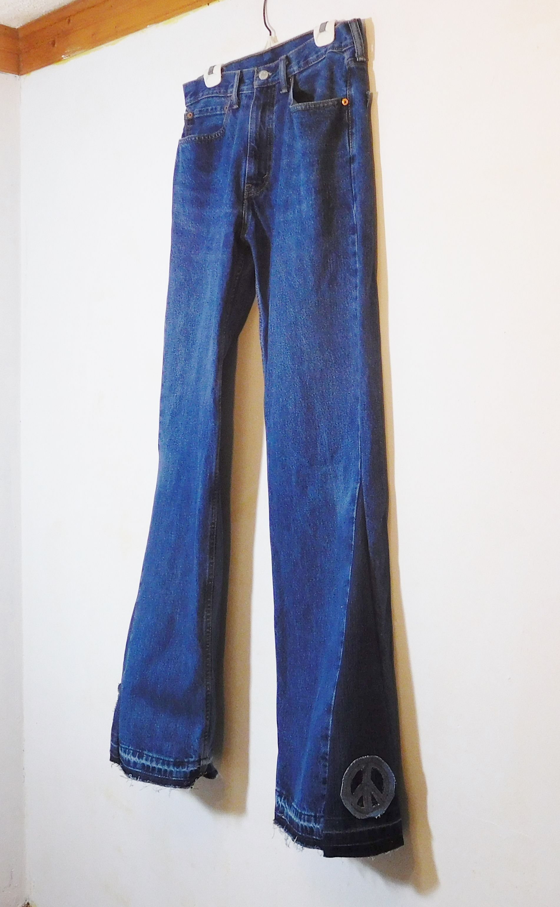 1edb16249ea Mens Bell Bottom Jeans, Levi 505, 34 Waist, Tall, Dark Blue, Upcycled  Clothes, Levi Bell Bottoms, Hippie Jeans, 70s style, Bohemian Pants