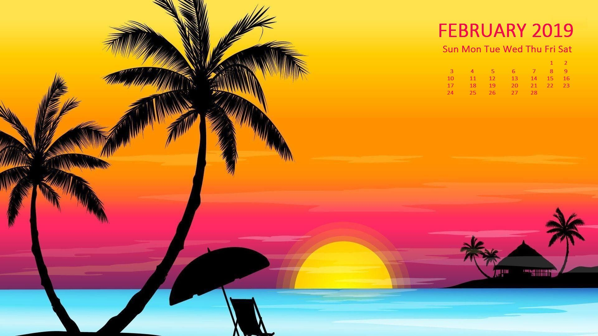 February 2020 Desktop Calendar Blue Jeans Beautiful February 2019 Smart Gadgets Background Wallpaper With