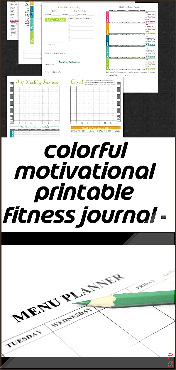Colorful motivational printable fitness journal  nutrition weight loss 038 workout planner  a5  3 Co...