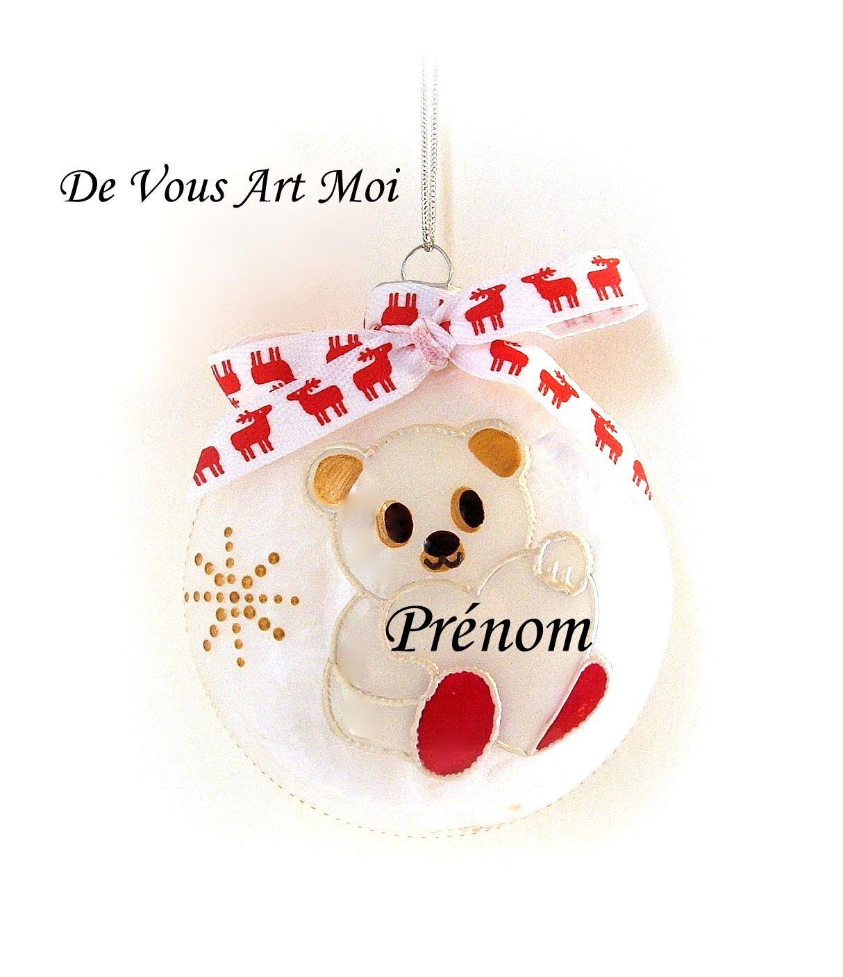 Boule Noel Personnalisée Boule Noël personnalisée enfant,ourson de Noël blanc peint à la