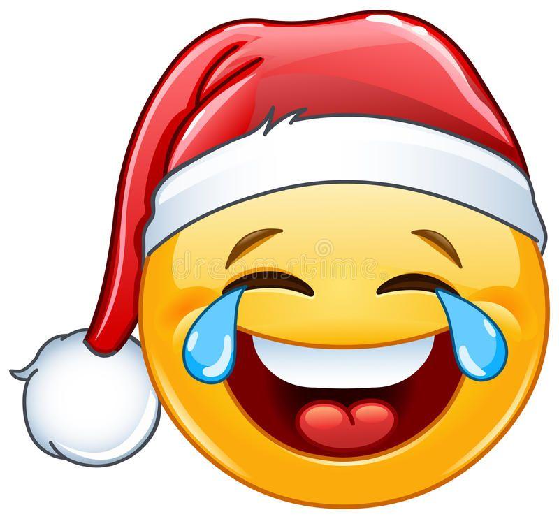 Tears Of Joy Emoticon With Santa Hat Stock Vector Emoticon Dia Do Sorriso Imagens De Carinho