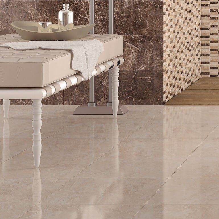Sadya Marble Effect Cream Floor Tiles In Bathroom Floor Tiles