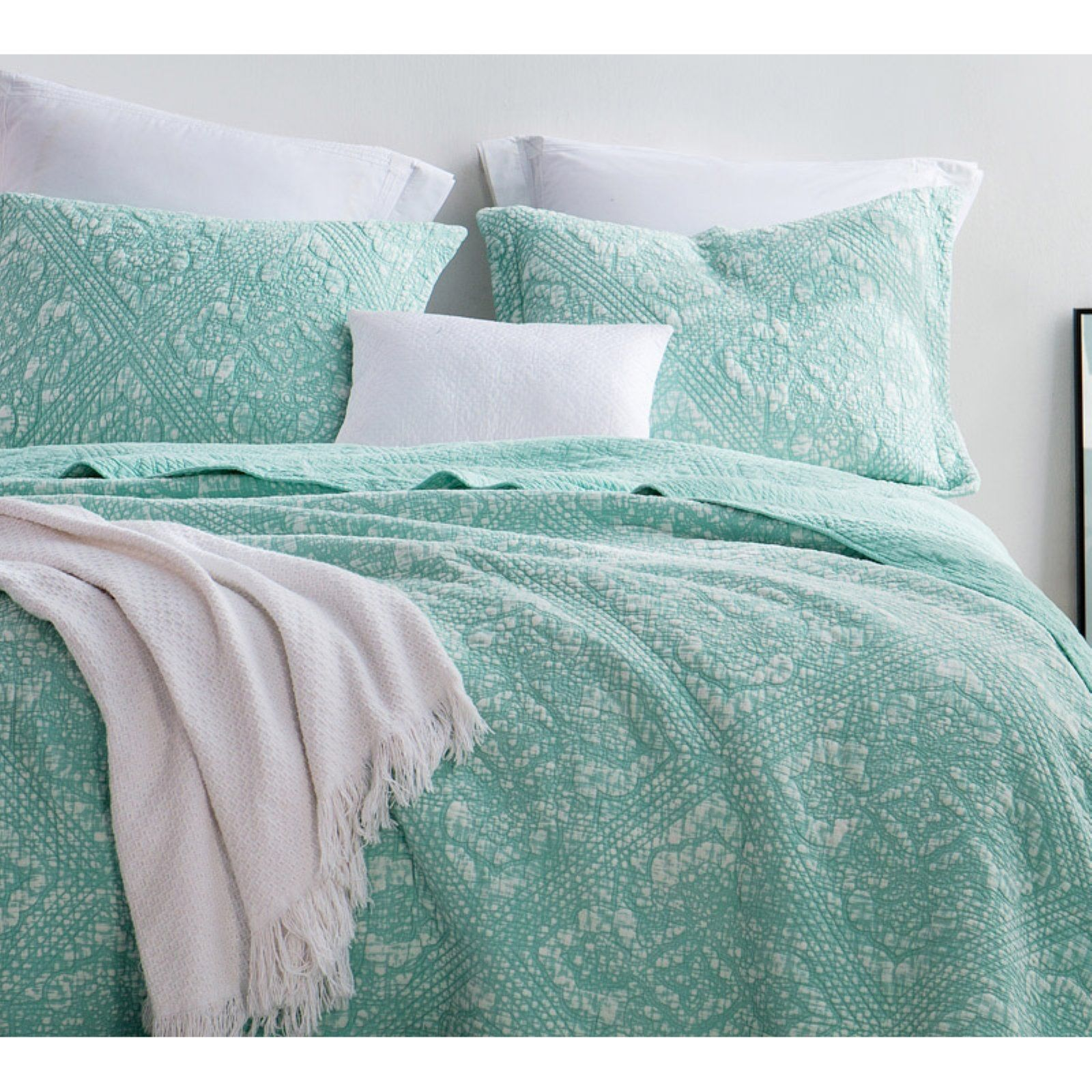 3PC CHANTILLY TEAL KING SIZE BEDDING BED DUVET COVER QUILT SET WITH PILLOWCASES