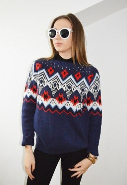 Navy & multi coloured Jumper one size