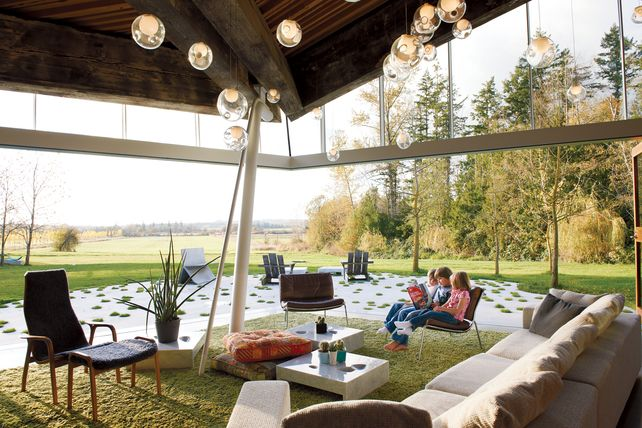 Outdoor Lounge Spaces Modern Glass House Outdoor Living Glass House