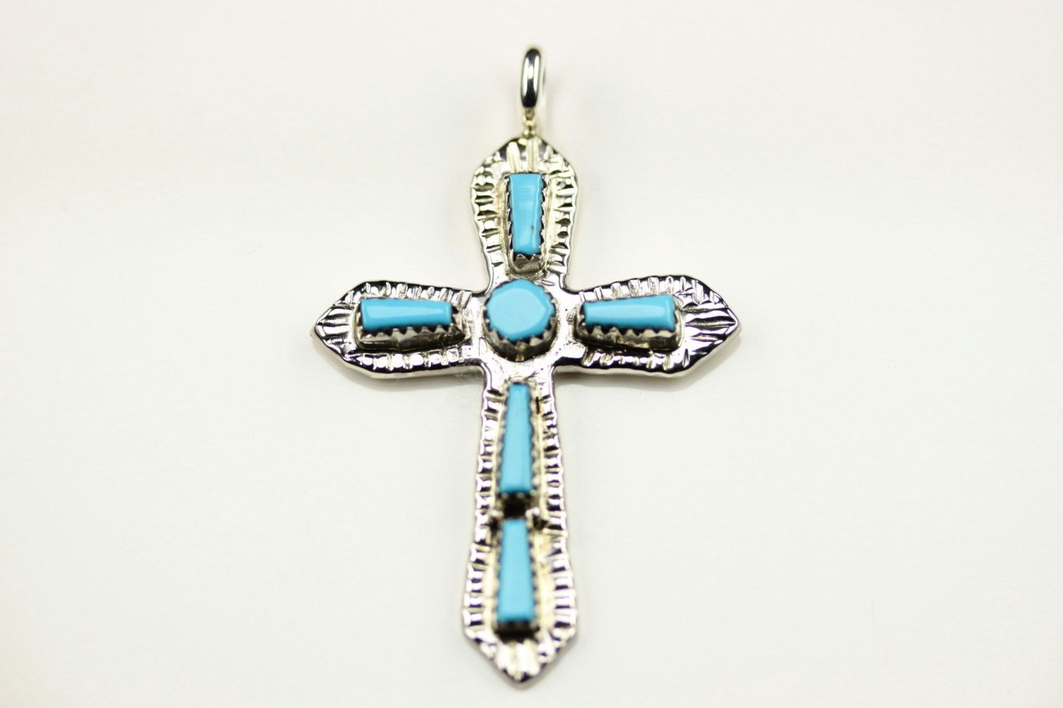 Native American Zuni Sterling Silver Turquoise Cross Pendant By G&L Leekity by LoudCrowTrading on Etsy