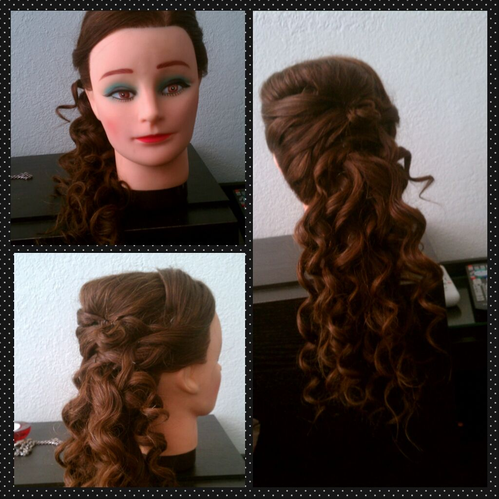 side ponytail with cascading curls
