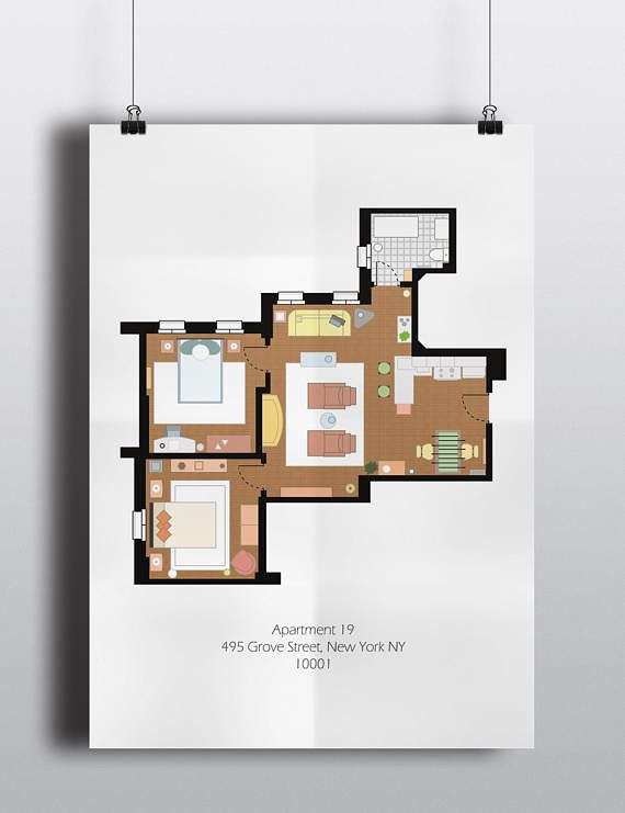 Friends Inspired Poster Print Joey S Apartment Floor Plan A2 Size Resizable Digital Download Wall Art Poster Prints Apartment Floor Plan Floor Plans