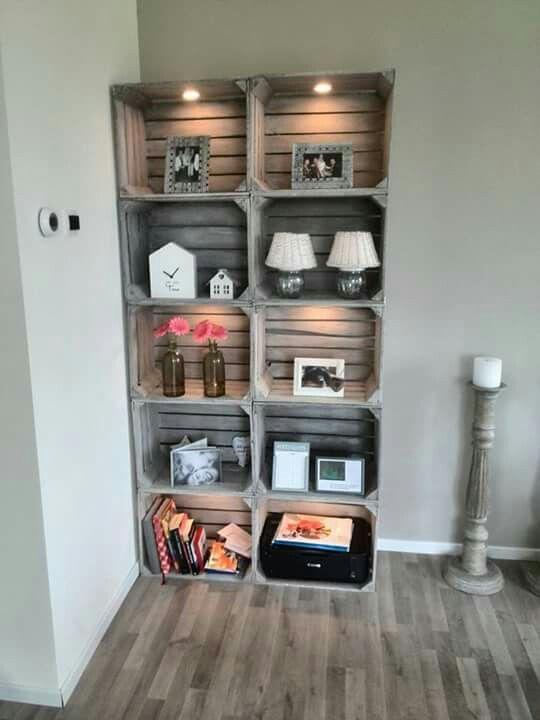 boekenkast zelf maken met de kistjes van ikea