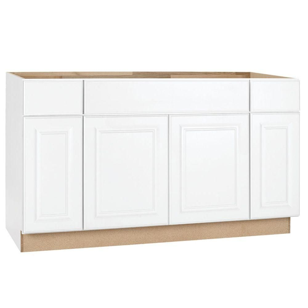 Hampton Bay Hampton Assembled 60x34 5x24 In Sink Base Kitchen Cabinet In Satin White Ksb60 Sw The Hom Base Cabinets Kitchen Base Cabinets Home Depot Kitchen