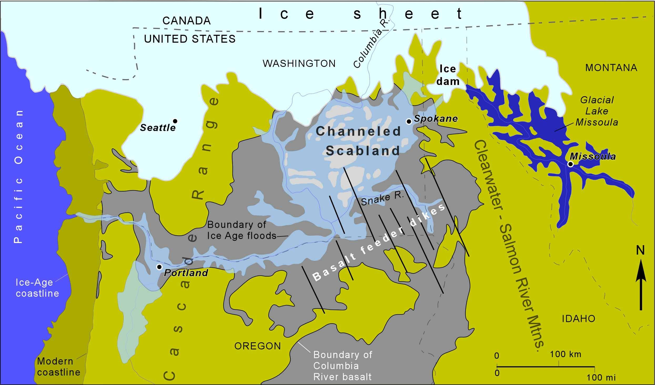 Showing Overlapping Distributions Ice Age Coastal Maps Ice