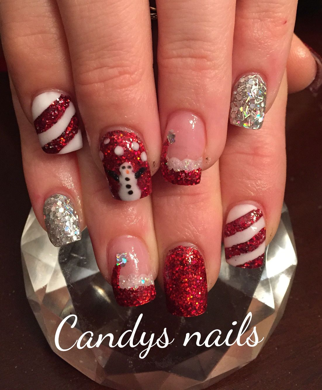 Christmas Acrylic Nails With A Snowman And Santa Hat And Candy Cane Stripes Nail Candy Christmas Nails Acrylic Nails