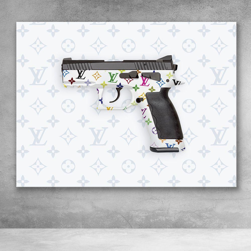 Louis Vuitton Gun Fashion Pop Culture Modern Graffiti Canvas Wall Art