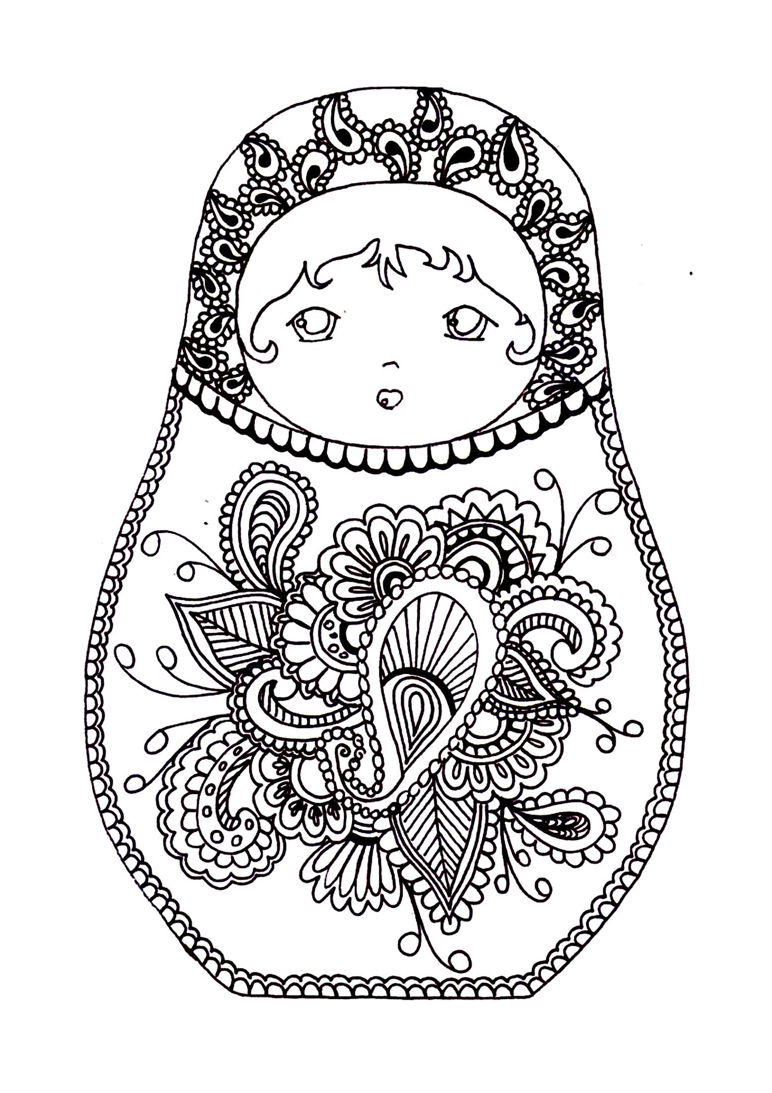 Free Coloring Page Coloring Russian Dolls 2 Christmas