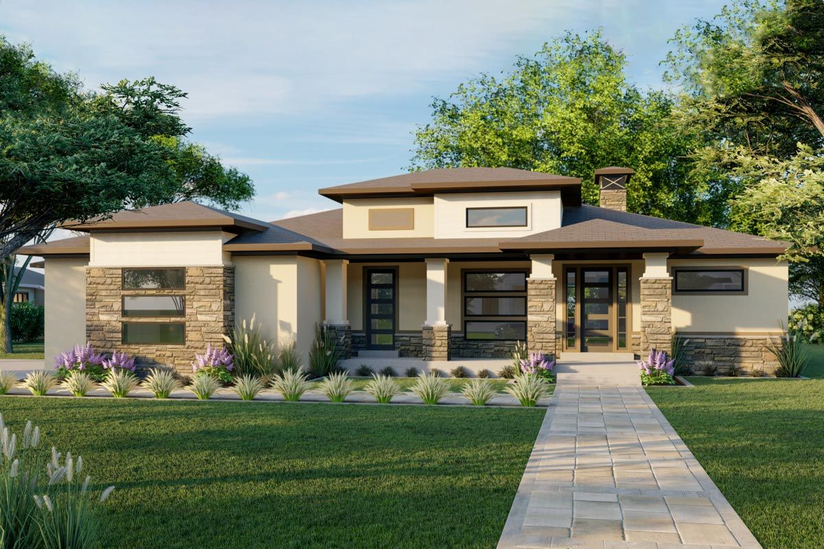 Plan 910011whd Exclusive Modern Prairie House Plan With Optional Finished Lower Level Prairie Style Houses Prairie House Modern Style House Plans