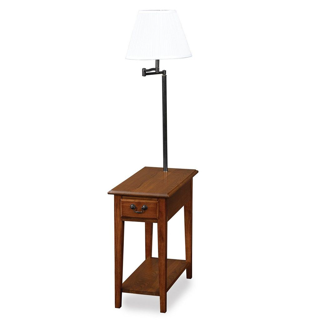 End table with attached lamp and magazine rack 4 things to look leick chair side lamp table with drawer medium oak geotapseo Image collections