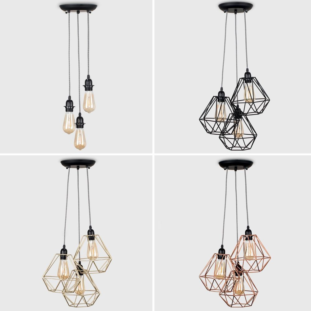 3 Way Black Ceiling Light Fitting Pendant Wire Shades LED