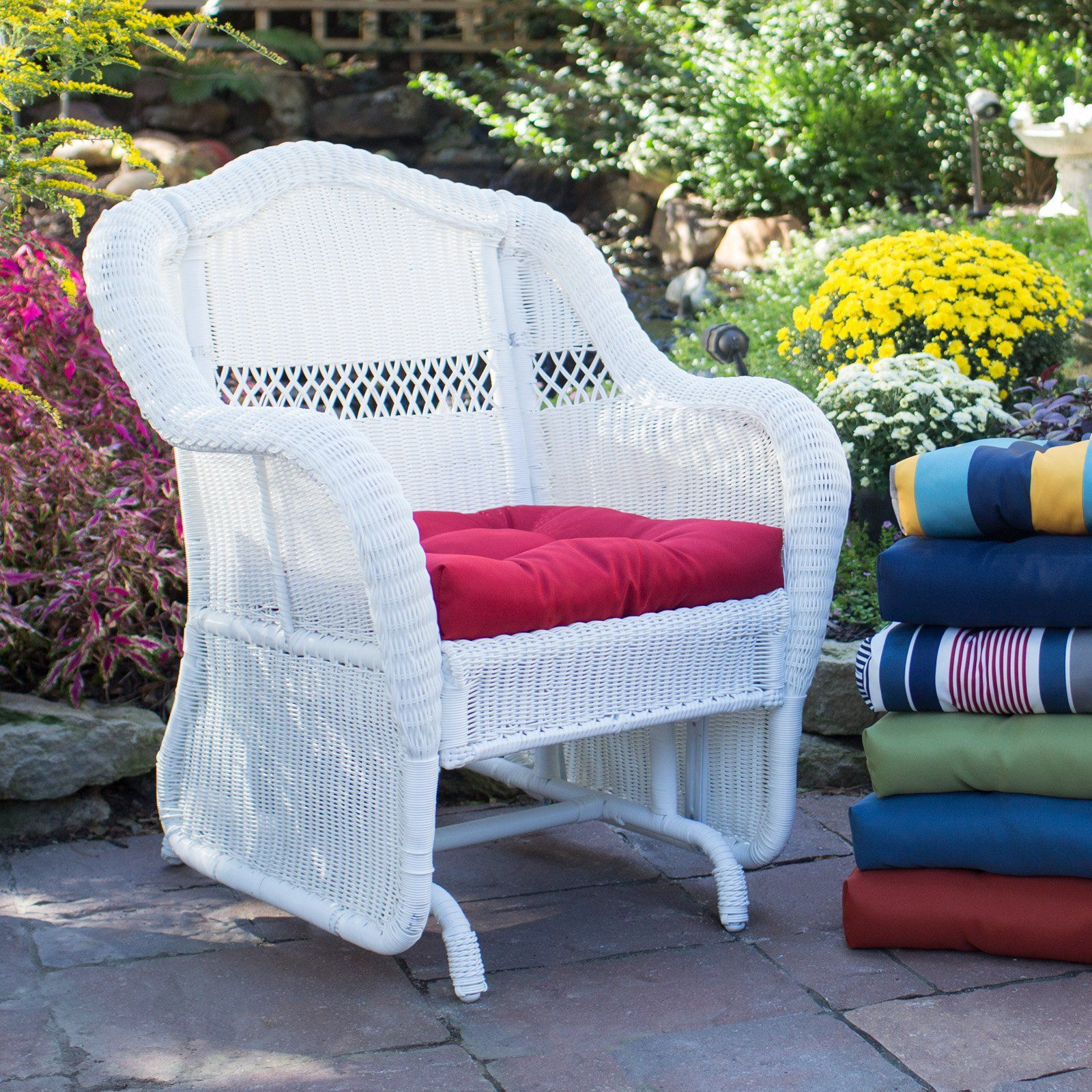 Coral Coast Casco Bay Resin Wicker Outdoor Glider Chair with