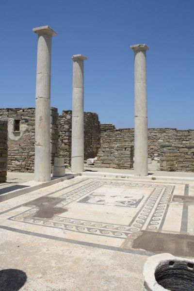 The 5.8 m high columns of the atrium of the House of Dionysos, Delos. 3rd-2nd century BCE. The famous mosaic depicting Dionysos riding a tiger was discovered here.