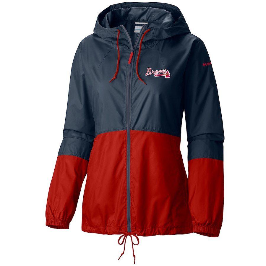 Atlanta Braves Columbia Women S Flash Forward Full Zip Windbreaker Jacket Navy Windbreaker Jacket Jackets Windbreaker
