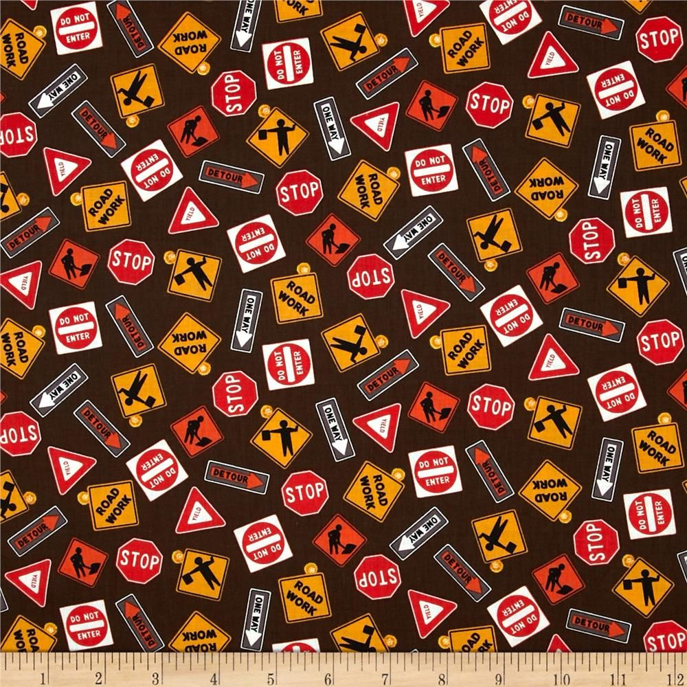 Detour Ahead Tossed Road Signs Brown from @fabricdotcom  Designed by Eugene Warren Smith for Clothworks, this cotton print fabric is perfect for quilting, apparel and home decor accents. Colors include black, red, gold, orange, white and brown.