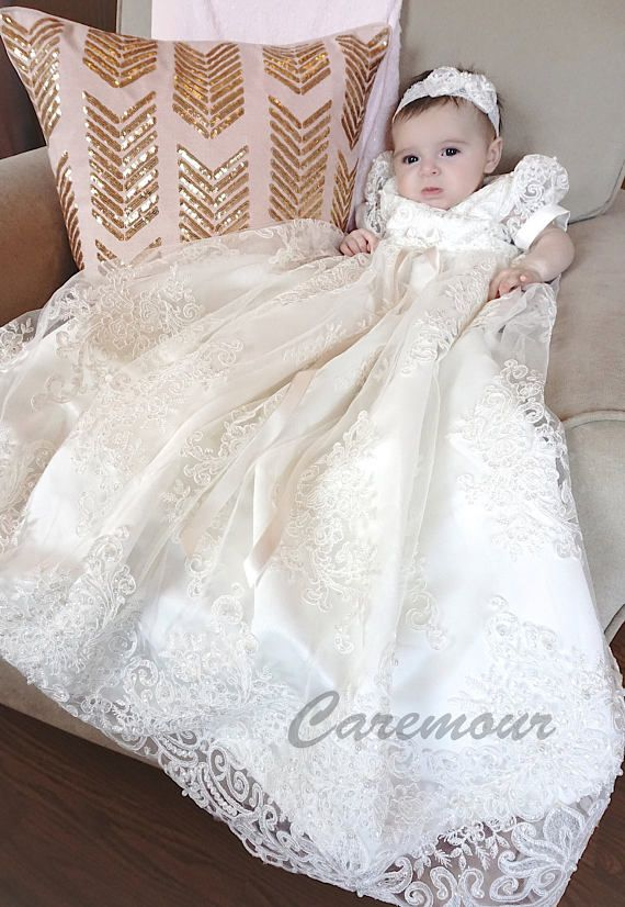 Chloe Sequined Lace Christening Gown Baptism Dress Girls