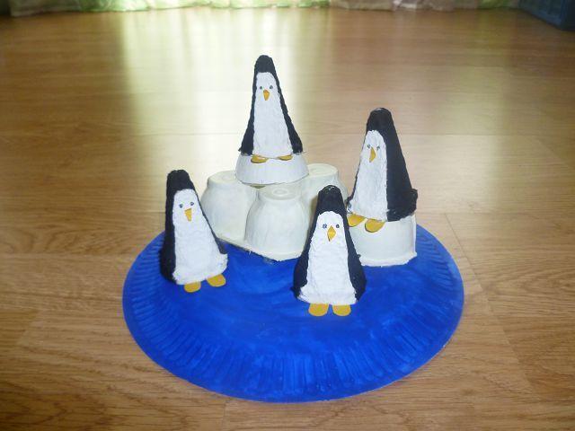 pinguine aus madagascar aus pappteller und eierkarton