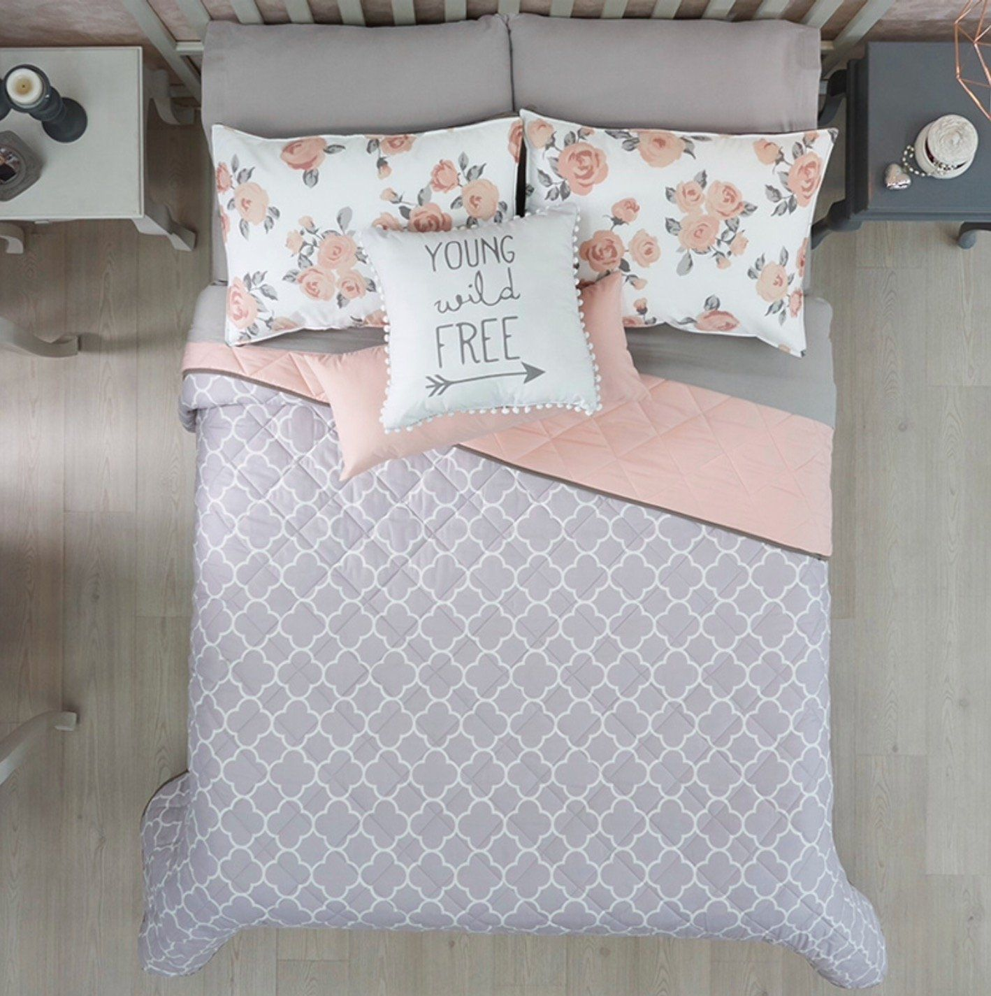 New Free Gray Pink Teens Girls Reversible Comforter Set 3 Pcs Twin