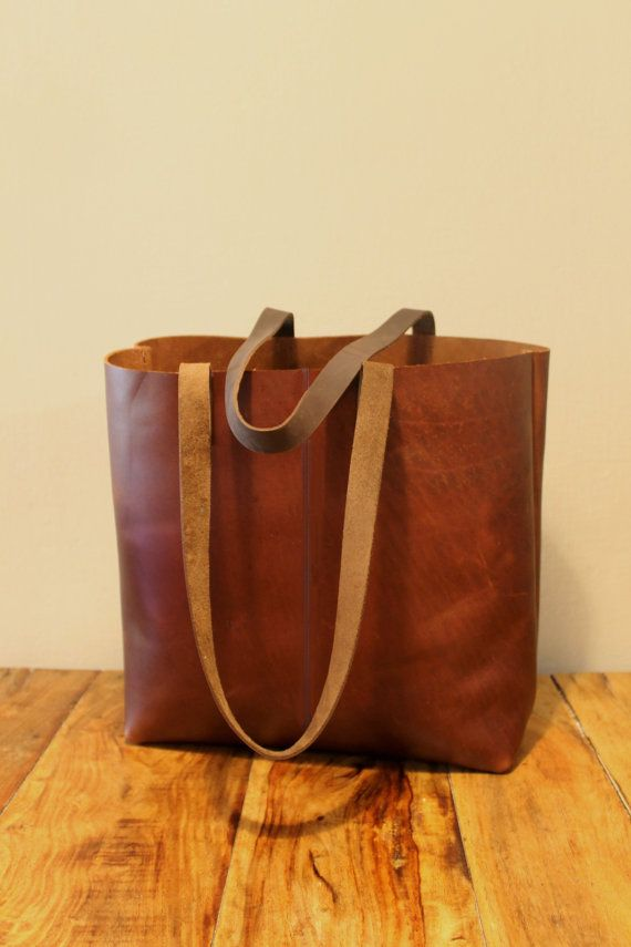 Sale Distressed brown leather tote bag Leather door LimorGalili