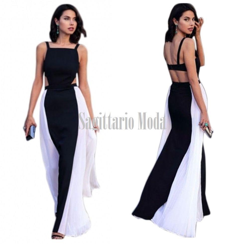low priced 628ae 80ce5 Abito lungo chiffon bianco nero maxi vestito plissettato ...