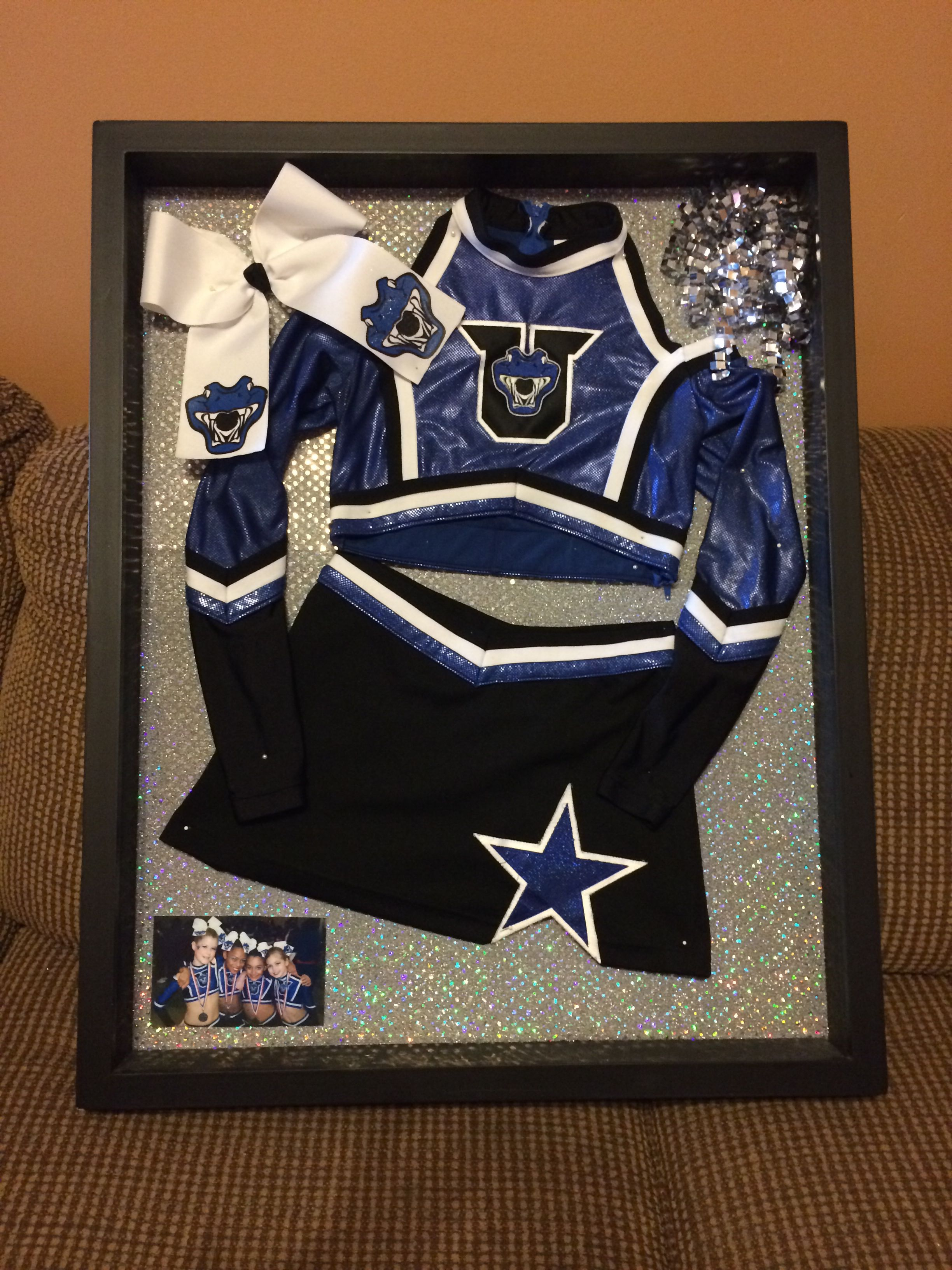 Shadow box cheer uniform | Cheer Gifts For Team | Pinterest