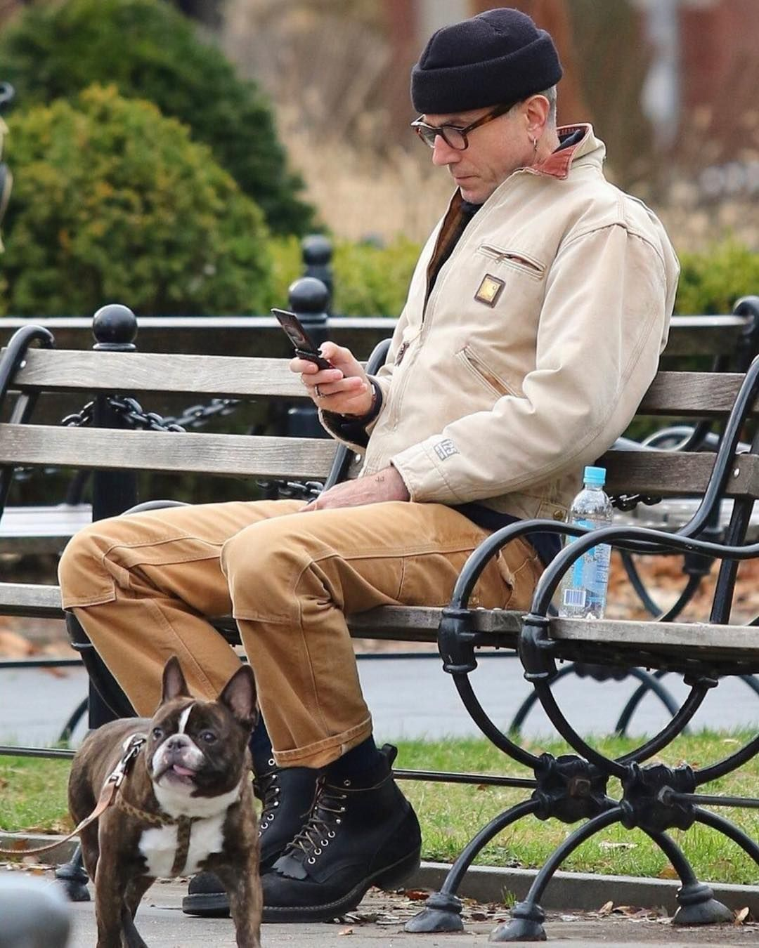 6f2e0bc72f Menswear Twitter is going crazy over these photos of Daniel Day Lewis  wearing Carhartt, drinking from a water bottle and looking every bit…