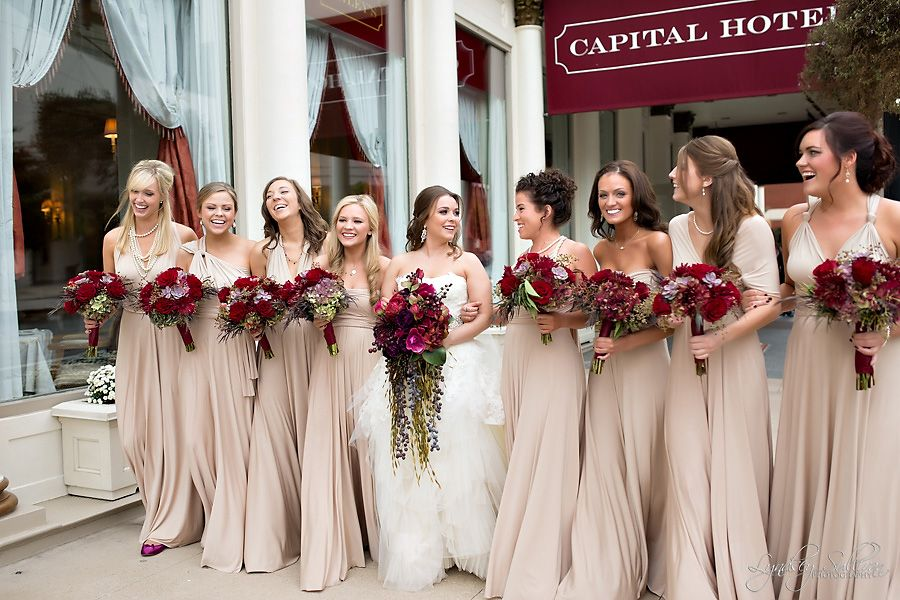 I Like The Idea Of Neutral Bridesmaids Dresses With Vibrant Burgundy Bouquets