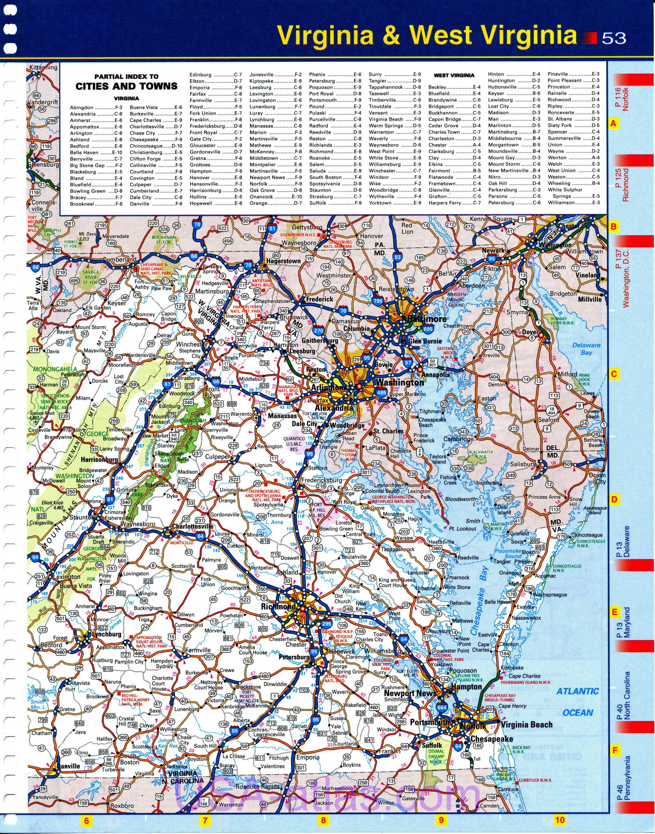 Map of Virginia. Detailed road map of the state of Virginia. Quality ...