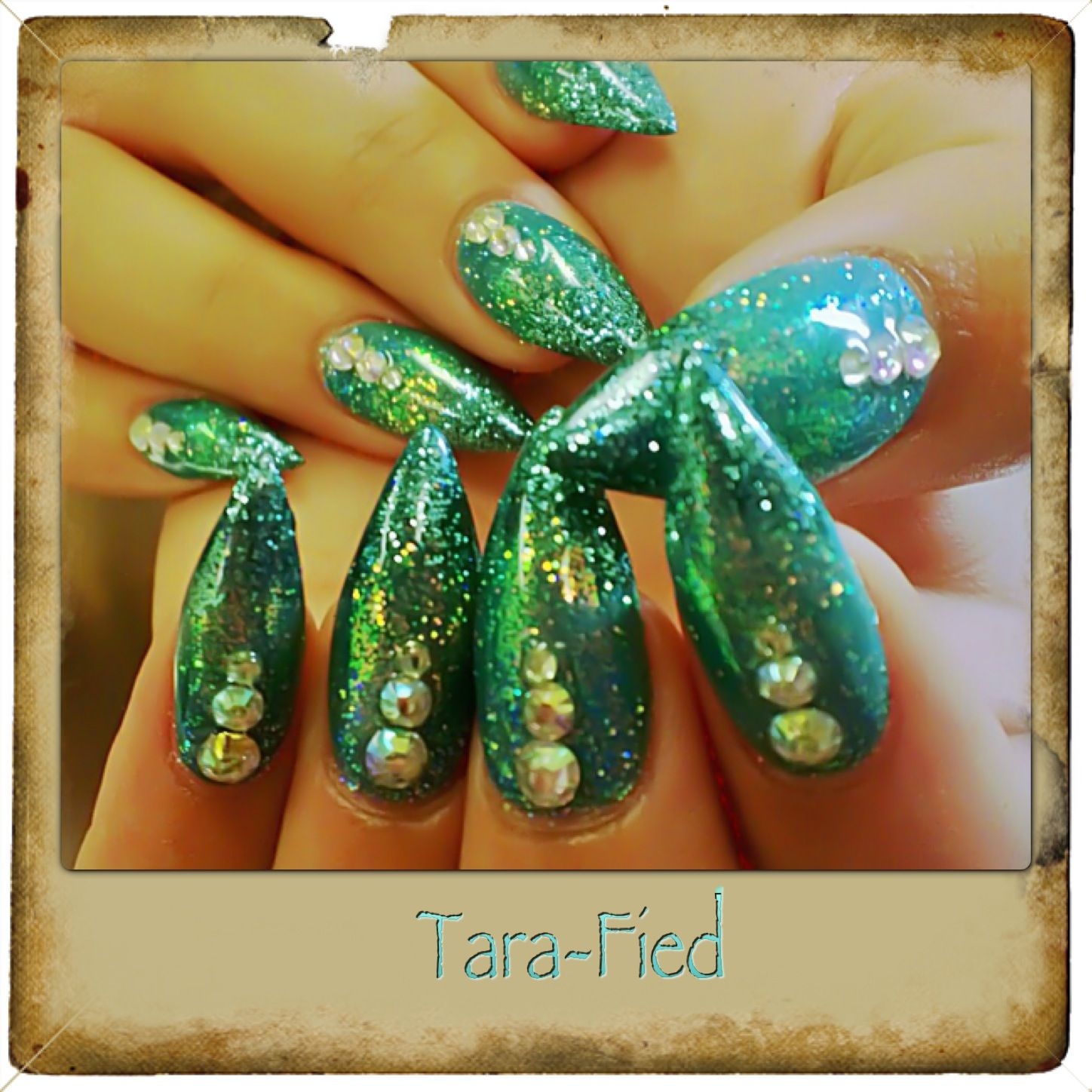 Stiletto nails. 3 color glitter ombré with rhinestones. https://www ...