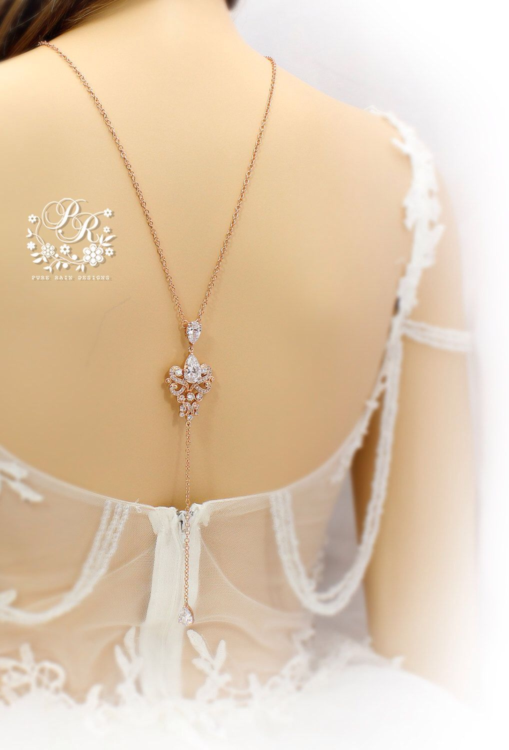 Wedding Necklace Rose Gold plated Zirconia Necklace Bridal Backdrop