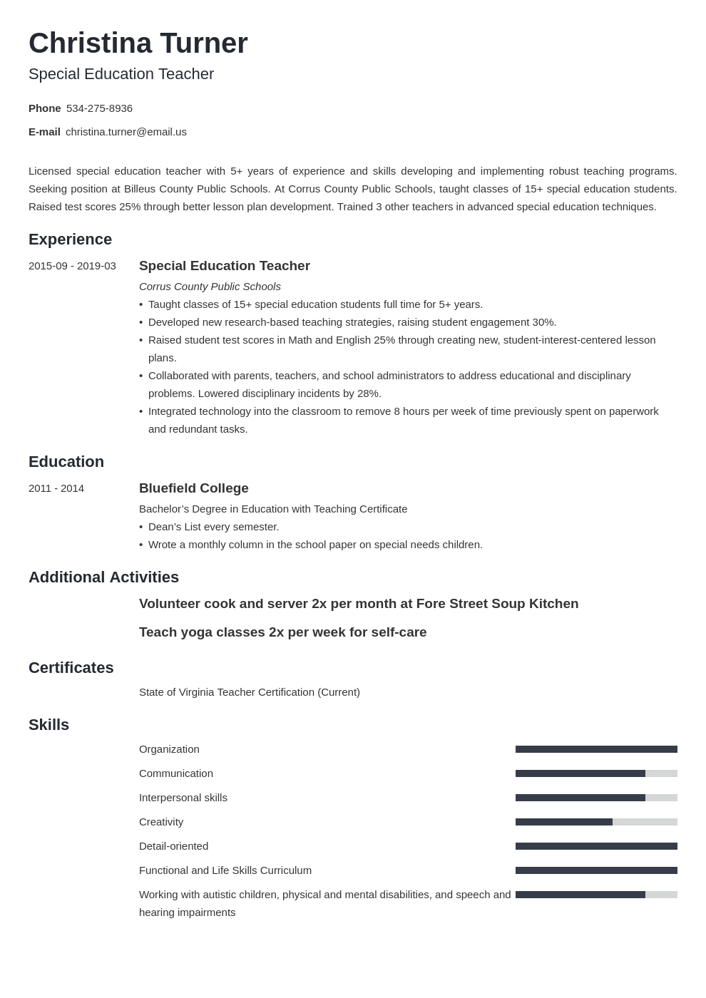 special education teacher resume example template minimo