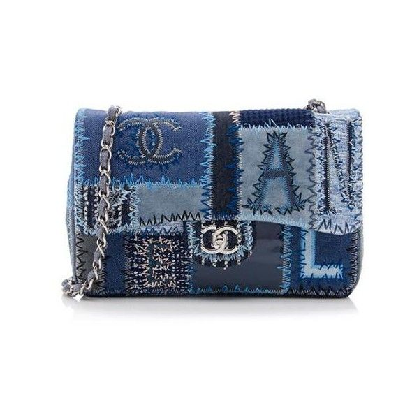 Al Chanel Denim Patchwork Classic Jumbo Flap Bag 280 Liked On Polyvore Featuring Bags Handbags Purses Blue