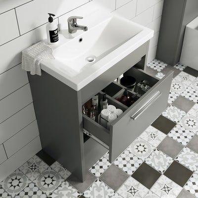 Clarity satin grey floorstanding vanity unit and ceramic basin 600mm